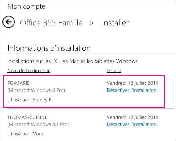 Capture d'écran de la page d'installation avec un nom d'ordinateur et le nom de la personne qui a installé Office sélectionné.