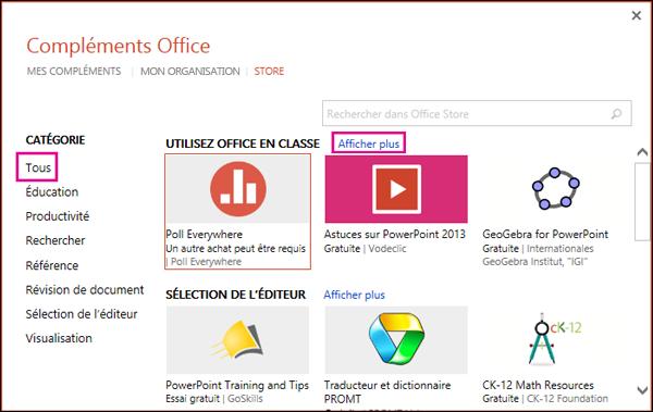 Boîte de dialogue Compléments Office avec les options Tous et Afficher plus mises en évidence