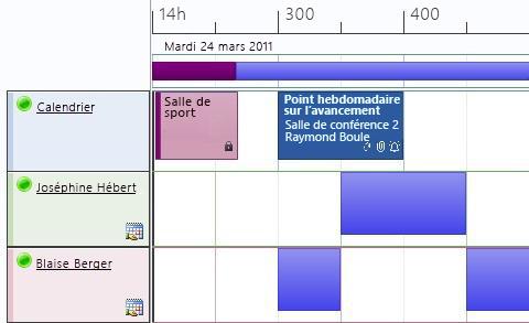 Affichage Planification de calendrier