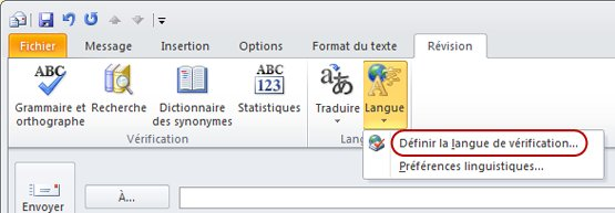 Ruban Message Outlook - onglet Révision - Langue
