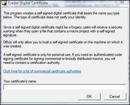Boîte de dialogue Créer un certificat numérique