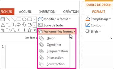 Options Combiner les formes présentes sous l'onglet Outils de dessin - Format