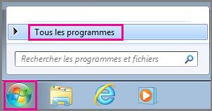 Rechercher des applications Office à l'aide de l'option Tous les programmes dans Windows7