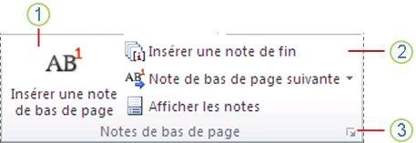 Word2010: groupe Notes de bas de page sous l'onglet Références