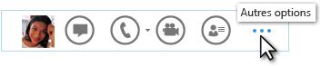 Capture d'écran du menu rapide de Lync présentant l'option Autres options