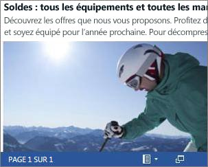 Document Word incorporé d'une brochure de vente de ski