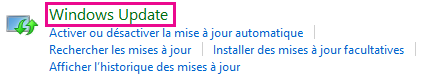 Lien Windows Update de Windows 8 dans le Panneau de configuration