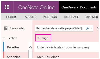 Capture d'écran illustrant l'ajout d'une page dans OneNoteOnline