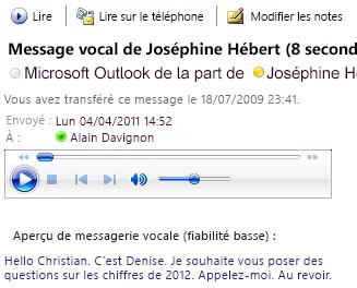 Message vocal avec transcription