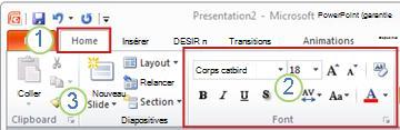 Exemple de ruban PowerPoint. Éléments.