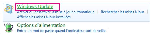 Lien Windows Update dans le Panneau de configuration