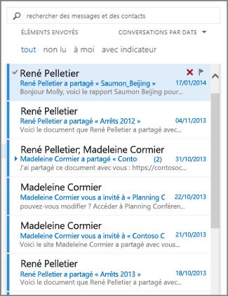 Liste des messages Outlook