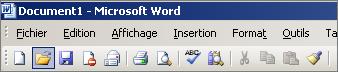 Menu principal dans Word2003