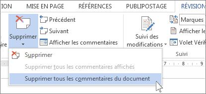 Commande Supprimer tous les commentaires du document dans le menu Supprimer les commentaires