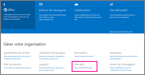 Page Administrateur montrant l'option Gérer votre site web public.