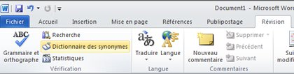 Word Ribbon Review tab Thesaurus