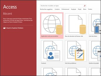L'écran d'accueil d'Access, montrant la zone de recherche de modèles et les boutons Application web personnalisée et Base de données du Bureau vide