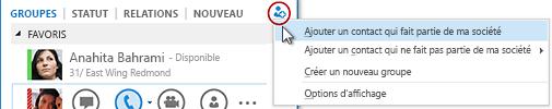 Dans la fenêtre principale de Lync, cliquez sur le bouton Ajouter un contact