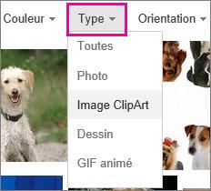 Menu de type avec des images Clipart sélectionnée