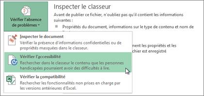 Commande Vérifier l'accessibilité dans Word2013