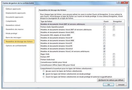 Zone Paramètres de blocage des fichiers du Centre de gestion de la confidentialité