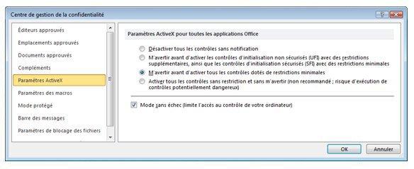 Zone Paramètres ActiveX du Centre de gestion de la confidentialité