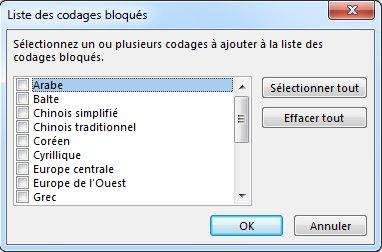Boîte de dialogue Liste des codages bloqués