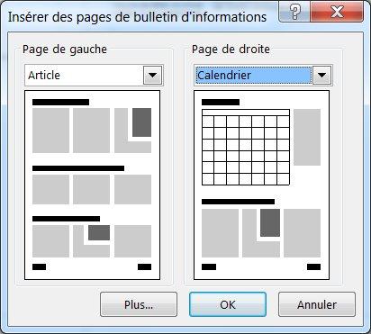 Ajouter de nouvelles pages à votre bulletin à l'aide de la boîte de dialogue Insérer des pages de bulletin d'informations.