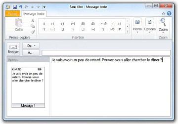 Fenêtre de texte SMS