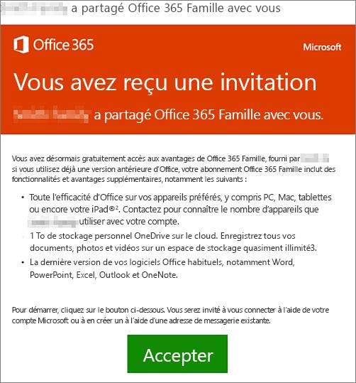 Message annonçant qu'une personne a partagé Office365 Famille avec vous