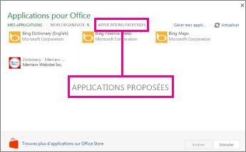 Cliquez sur Applications proposées