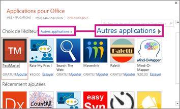 Cliquez sur Autres applications pour consulter les applications du Store