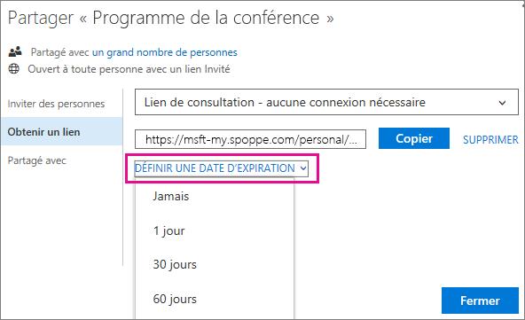 Capture d'écran du choix d'une date d'Expiration pour un lien invité