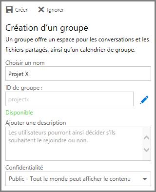 Capture d'écran de la saisie d'un nom et du clic sur Créer pour créer un groupe à partir de OneDrive Entreprise