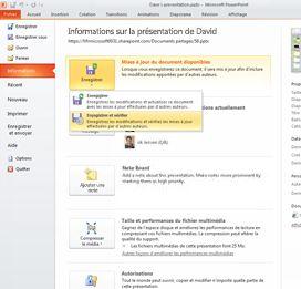 Utilisation de l'onglet Fichier pour voir si d'autres auteurs ont modifié votre présentation
