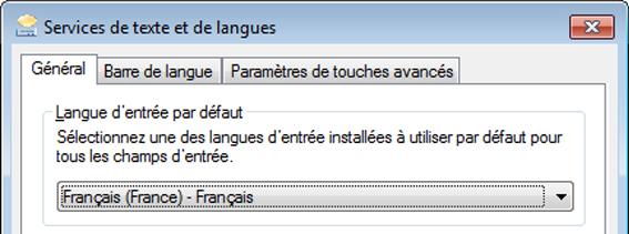 Boîte de dialogue Services de texte et de langues