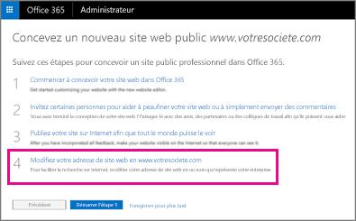 Sur la page Concevoir un site web public, sélectionnez l'étape4