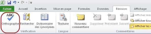 Ruban Excel - Onglet Accueil - Orthographe