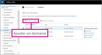 Cliquez sur Ajouter un domaine sur la page Domaines d'Office365