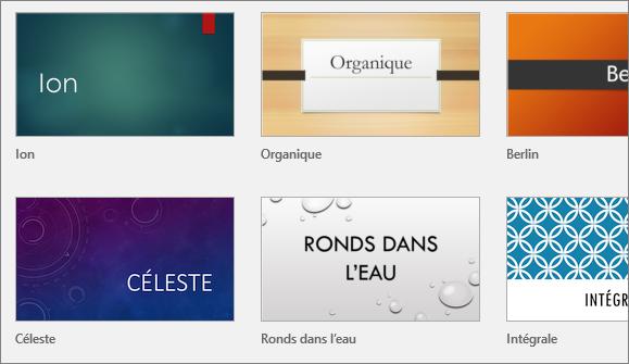Thèmes dans PowerPoint, sous Fichier > Nouveau