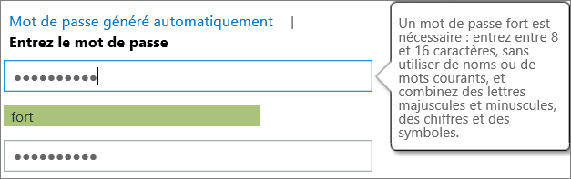 Affiche les exigences de mot de passe si vous tapez un mot de passe