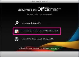 Page d'accueil de l'installation d'Office pour Mac dans laquelle vous vous connectez à un abonnement Office365 existant.