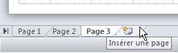 Onglet Insérer une page en bas du document.