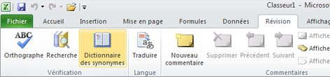 Ruban Excel - Onglet Révision - Dictionnaire des synonymes