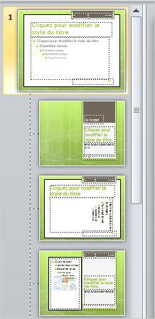 Masque des diapositives avec 3dispositions différentes