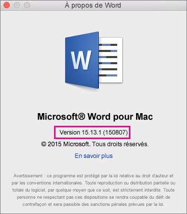Page À propos de Word dans Word2016 pour Mac