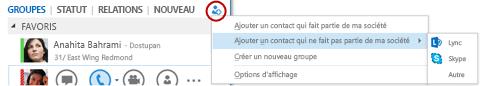 Ajouter un contact externe dans Lync