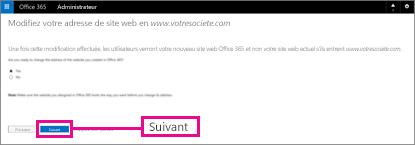 Sur la page Modifiez votre adresse de site web, sélectionnez Suivant