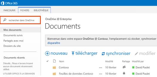 Capture d'écran de la zone Rechercher dans OneDrive dans Office365.