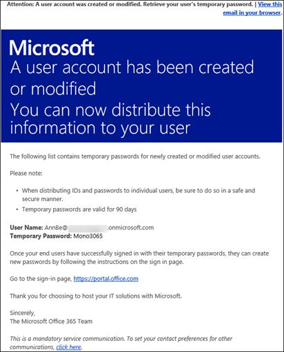 Exemple de message électronique contenant des informations sur un compte Office365 et les informations de connexion associées